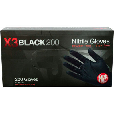 Ammex® BX3D Industrial Grade Nitrile Gloves, Powder-Free, Black, 2XL, 200/Box