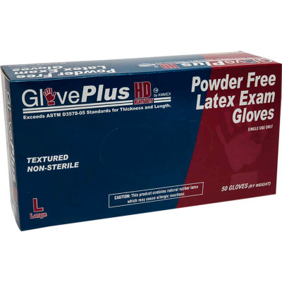 "Ammex® GLPHD GlovePlus Medical/Exam Latex Gloves, Powder-Free, 12""L, XL, 50/Box"