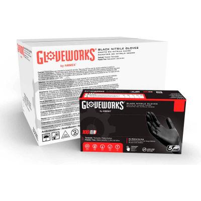 Ammex® GPNB GlovePlus Industrial Grade Nitrile Gloves, Powder-Free, Black, Medium, 100/Box