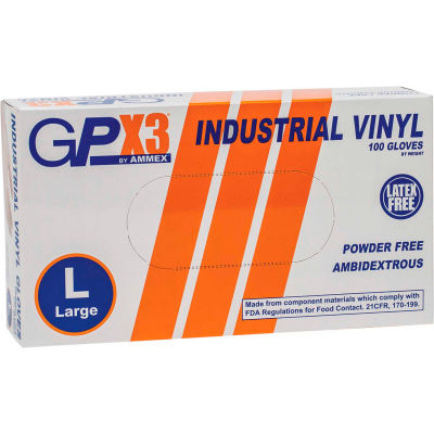 Ammex® GPX3 Industrial Grade Vinyl Gloves, 3 Mil, Powder-Free, XL, Clear, 100/Box