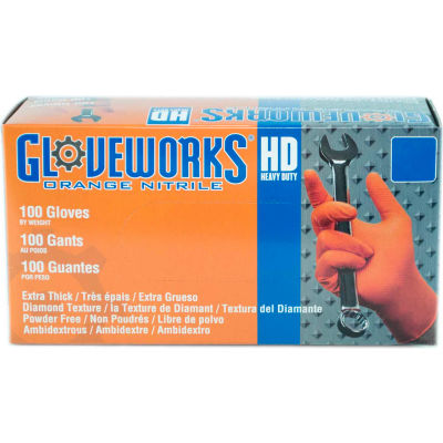 Ammex® Gloveworks Industrial Grade Disposable Nitrile Gloves, Powder-Free, Orange, XL, 100/Box
