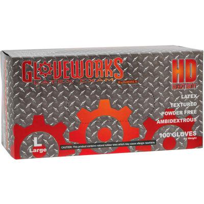 Ammex® ILHD Gloveworks Industrial Grade Latex Gloves, 8 Mil, Powder-Free, Natural, XL, 100/Box