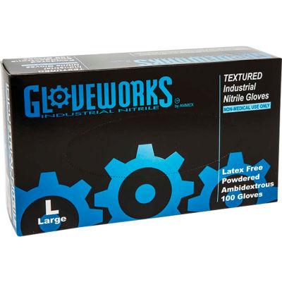 Ammex® Gloveworks Industrial Grade Nitrile Gloves, Powdered, Blue, Small, 100/Box, 10 Box/CS