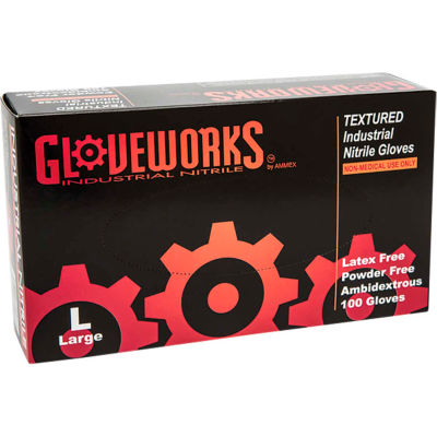 Ammex® Gloveworks Industrial Grade Disposable Nitrile Gloves, Powder-Free, Blue, Large, 100/Box