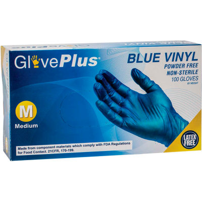 Ammex® GlovePlus Industrial Grade Vinyl Gloves, 4 Mil, Powder-Free, M, Blue, 100/Box