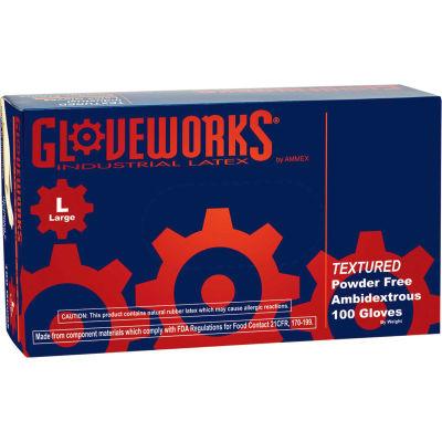 Ammex® TLF Gloveworks Industrial Grade Latex Gloves, Powder-Free, Natural, M, 100/Box