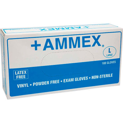 Ammex® VPF Medical/Exam Grade Vinyl Gloves, 4 Mil, Powder-Free, L, Clear, 100/Box