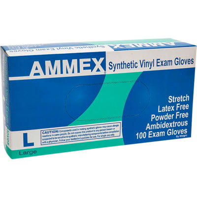 Ammex® VSPF Medical/Exam Grade Vinyl Gloves, 4 Mil, Powder-Free, XL, Ivory, 100/Box