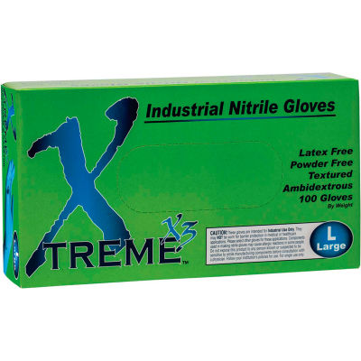 Ammex® X3 Xtreme Industrial Grade Disposable Nitrile Gloves, Powder-Free, Blue, Large, 100/Box