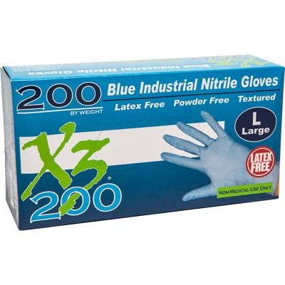 Ammex® X3D Xtreme Industrial Grade Nitrile Gloves, Powder-Free, Blue, Small, 200/Box, 10 Box/CS