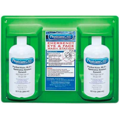 PhysiciansCare® Wall Mount Eye & Skin Flush Station, Two 32 Oz. Bottles, 24-300