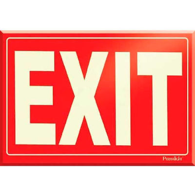 Photoluminescent Red Exit Peel-And-Stick Self-Adhesive Sign