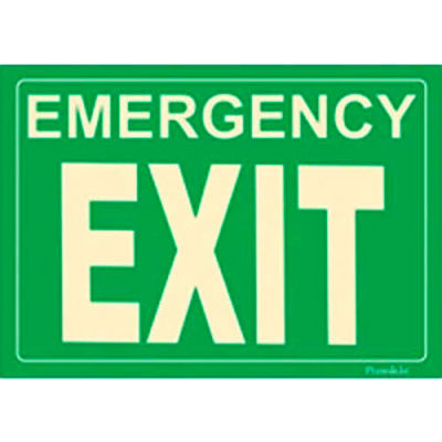 Photoluminescent Emergency Exit Rigid PVC Sign, Non-Adhesive