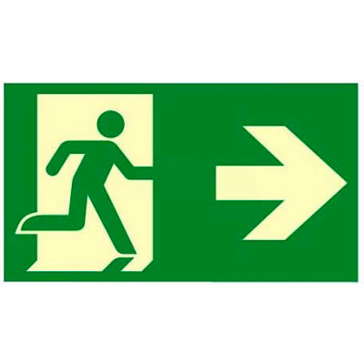 "Photoluminescent ""Man/Arrow To Right"" NYC Mea-Listed Aluminum Sign"