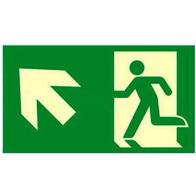 """Photoluminescent """"Man Left/Arrow Left Up"""" NYC Mea-Listed Aluminum Sign"""