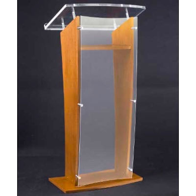 Amplivox Clear Acrylic and Wood Floor Lectern / Podium H-Style with Shelf - Cherry