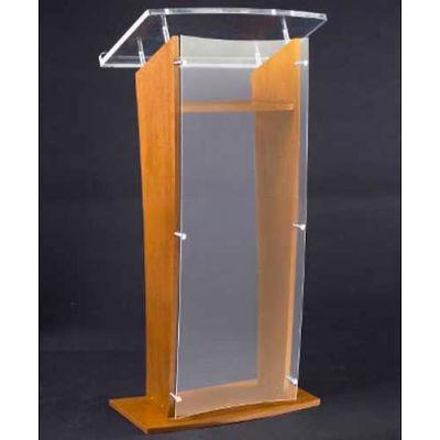 Amplivox Clear Acrylic and Wood Floor Lectern / Podium H-Style with Shelf - Medium Oak