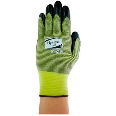 HyFlex® Cut Resistant Gloves, Ansell 11-510, Black Nitrile Palm Coat, Size 9, 1 Pair