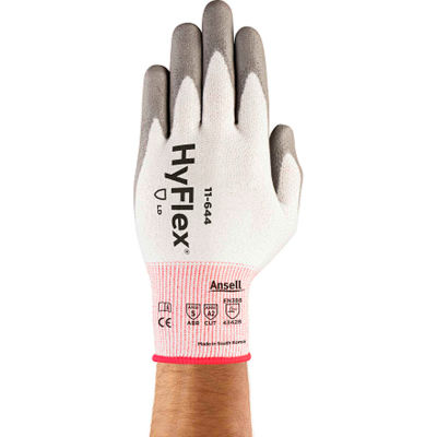 HyFlex® Cut Protection Gloves, Ansell 11-644, Gray PU Palm Coat, Size 8, 1 Pair