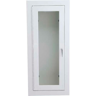 """Alta Extinguisher Cabinet, Full Tempered Safety Glass, Stl, Semi Recessed, 9""""L x 18""""H x 5""""D"""
