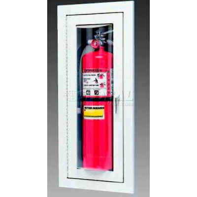 """Loma Extinguisher Cabinet, Full Bubble W/Catch, Recessed, Steel, 9""""L x 24""""H x 4""""D"""