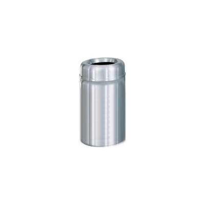 Rubbermaid® AOT30SA Crowne Open Top 30 Gallon Receptacle w/Plastic Liner - Satin Aluminum