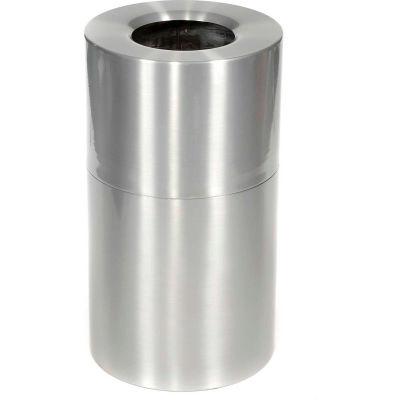 Rubbermaid AOT35SA Atrium® Aluminum Container, Open Top 21 Gal. w/Galv. Liner - Satin Aluminum