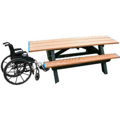 Polly Products Standard 8' Picnic Table ADA Compliant Both Ends, Brown Top & Bench/Black Frame
