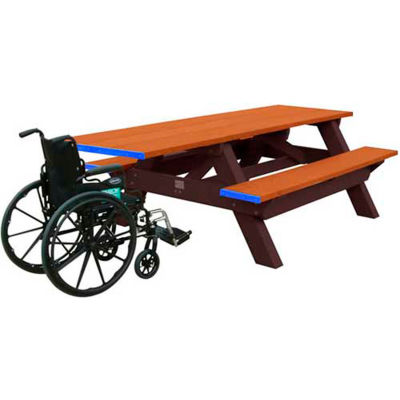 Polly Products Standard 8' Picnic Table ADA Compliant One End, Cedar Top & Bench/Brown Frame