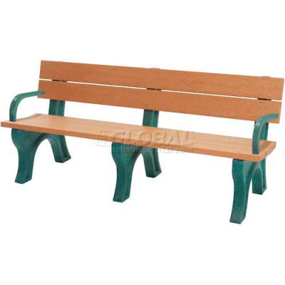 Polly Products Traditional 6 Ft. Backed Bench with Arms, Cedar Bench/Brown Frame