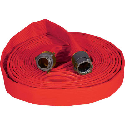 """Armored Textiles N50H25RR100N JAFRIB Standard Nitrile Fire Hose, 2-1/2"""" X 100 Ft, 300 PSI, Red"""