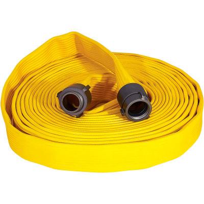 """Armored Textiles N50H25RY50N JAFRIB Standard Nitrile Fire Hose, 2-1/2"""" X 50 Ft, 300 PSI, Yellow"""