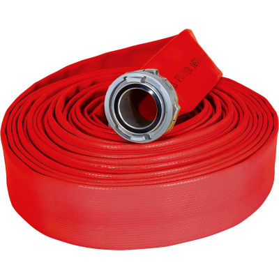 """Armored Textiles N50H5RR50S JAFRIB Standard Nitrile Fire Hose, 5"""" X 50 Ft, 225 PSI, Red"""