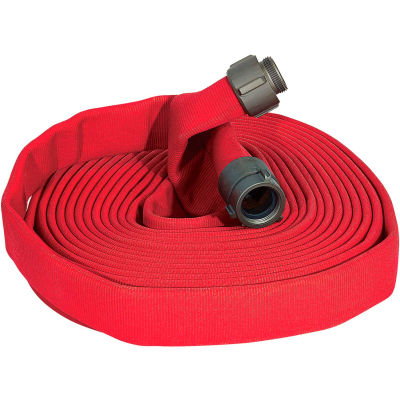 """Armored Textiles N51H15LNR50N JAFLINE Double Jacket Fire Hose, 1-1/2"""" X 50 Ft, 400 PSI, Red"""
