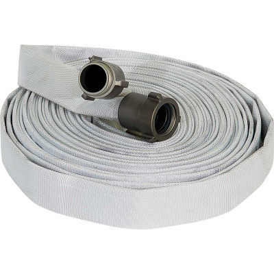 "Armored Textiles N55H1F100N FOREST LITE Single Jacket Fire Hose, 1"" X 100 Ft, 300 PSI, White"