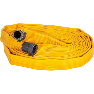 """Armored Textiles N56H175FX4100N JAFX4 4 Ply Fire Hose, 1-3/4"""" X 100 Ft, 330 PSI, Yellow"""
