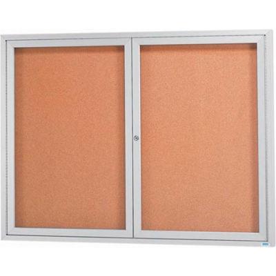 "Aarco 2 Door Framed Enclosed Bulletin Board - 60""W x 48""H"