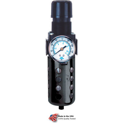 "Arrow Tri-Star Filter/Regulator B754G, Zinc & Polycarbonate Bowl, 1/2"" NPT, 150 PSI"