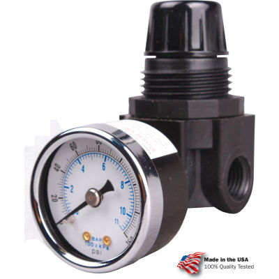 "Arrow Mini Air Regulator R262g, Glass Filled Nylon, 1/4"" Npt, 250 Psi"