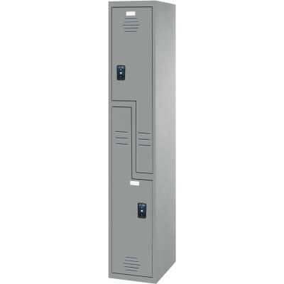 """ASI Storage Double Tier 2 Door Traditional Plastic Locker, 15""""Wx18""""Dx72""""H, Charcoal, Assembled"""