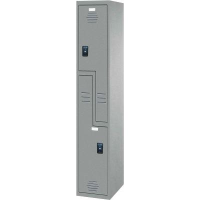 "ASI Storage Double Tier 2 Door Traditional Plastic Locker, 18""Wx18""Dx72""H, Gray, Assembled"