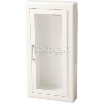 "Fire Extinguisher Cabinet, Full Acrylic Window, Semi-Recessed 6""D, Steel, 3"" Rolled"