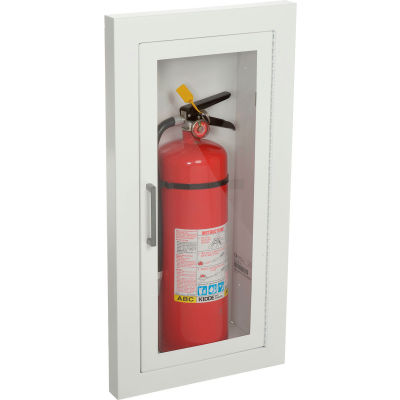 "Fire Extinguisher Cabinet, Full Acrylic Window, Semi-Recessed 5.5""D, Steel, 1.5"" Square"