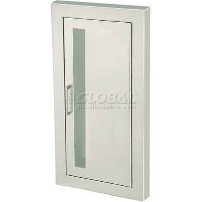 """Fire-Rated Fire Extinguisher Cabinet, Vertical Acrylic Window, Semi-Recessed 5.5""""D, SS, 1.5"""" Square"""