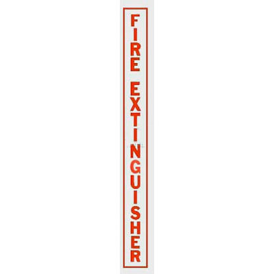 Fire Extinguisher Vertical Decal FE Lettering On Clear Film, Red