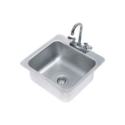 Advance Tabco® Drop In Sink, One Compartment 16L x 14W x 8D Bowl, 18 Gauge
