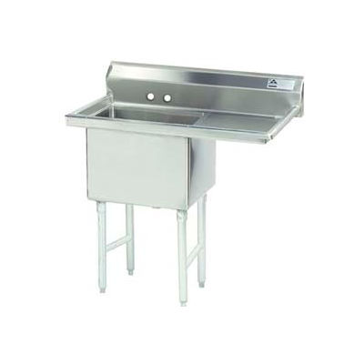 Advance Tabco® FC-1-1818-24R-X NSF Fabricated 1 Compart. Sink, 24H Right Drainboard