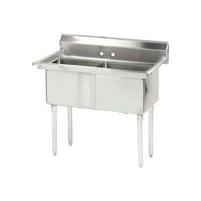 Advance Tabco® FC-2-1818-X NSF Fabricated 2 Compartment, 24L x 24W Bowl, 8-1/2H Splash,16 Ga.