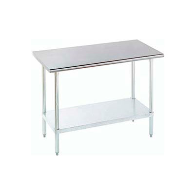 "Advance Tabco SLAG-243-X 14 Gauge Work Table 430 Stainless Steel - Adjustable Undershelf 36""W x 24""D"