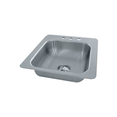 Advance Tabco® Smart Series Drop In Sink, One Compartment 14L x 10W x 10D Bowl, 18 Gauge